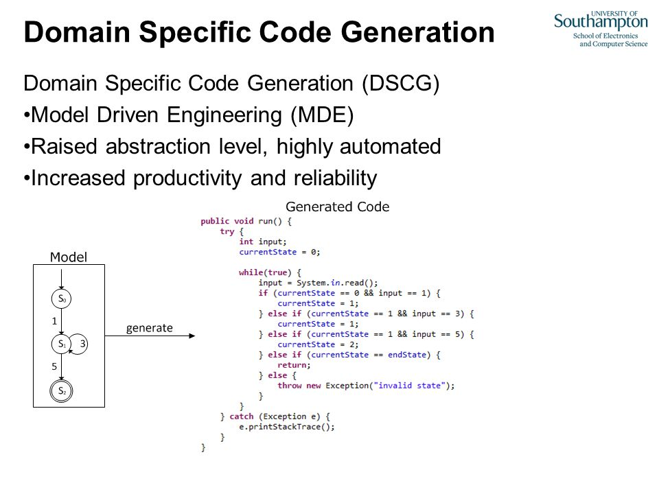 Domain Specific Code Generation Domain Specific Code Generation (DSCG) Model Driven Engineering (MDE) Raised abstraction level, highly automated Increased productivity and reliability