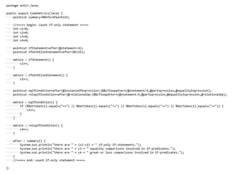 Test with ANTLR Parser Generator Begin_Parse_Rule_statement_Alternative_1(); End_Parse_Rule_statement_Alternative_1(); Begin_Match_Token_ELSE(); End_M