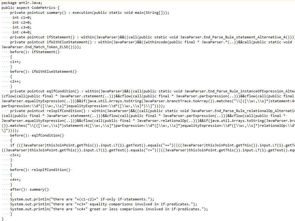 Test with ANTLR Parser Generator Begin_Parse_Rule_statement_Alternative_1(); End_Parse_Rule_statement_Alternative_1(); Begin_Match_Token_ELSE(); End_Match_Token_ELSE();