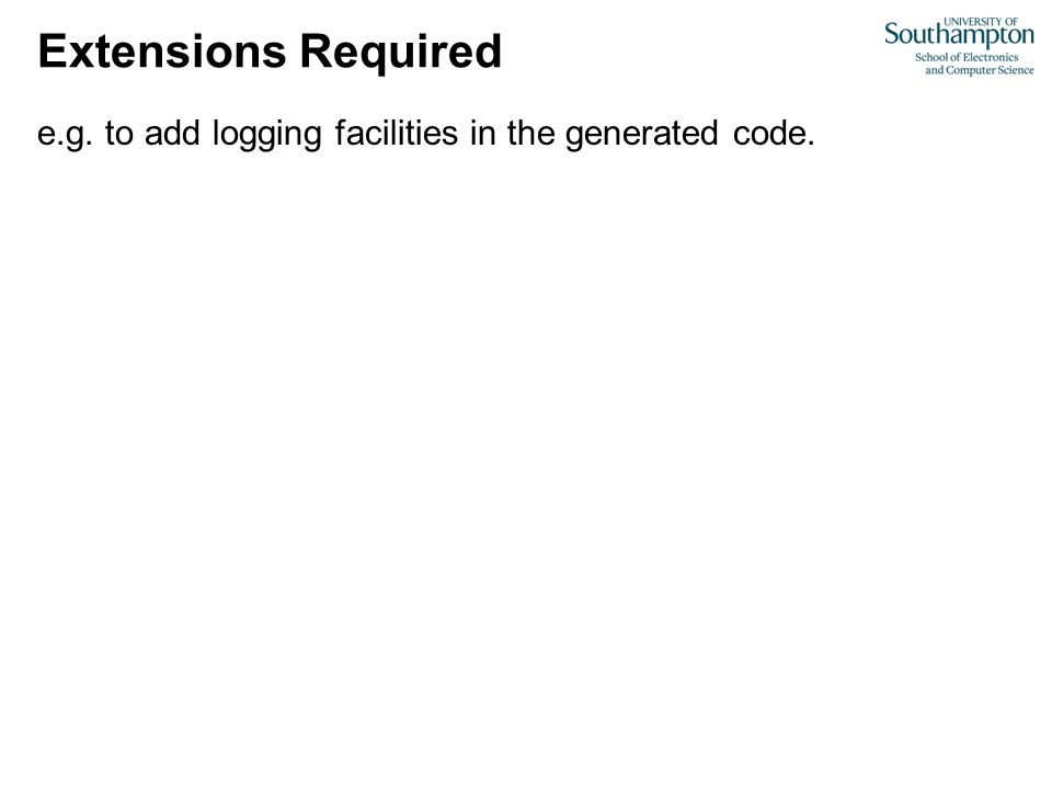 Extensions Required e.g. to add logging facilities in the generated code.