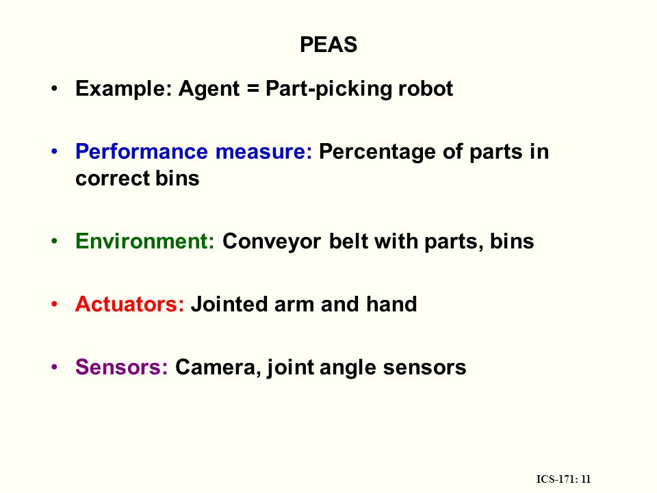 ICS-171: 11 PEAS Example: Agent = Part-picking robot Performance measure: Percentage of parts in correct bins Environment: Conveyor belt with parts, bins Actuators: Jointed arm and hand Sensors: Camera, joint angle sensors