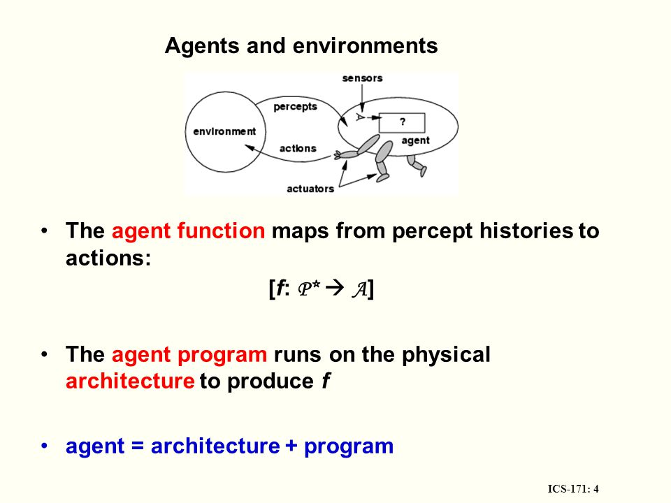 ICS-171: 4 Agents and environments The agent function maps from percept histories to actions: [f: P*  A ] The agent program runs on the physical architecture to produce f agent = architecture + program