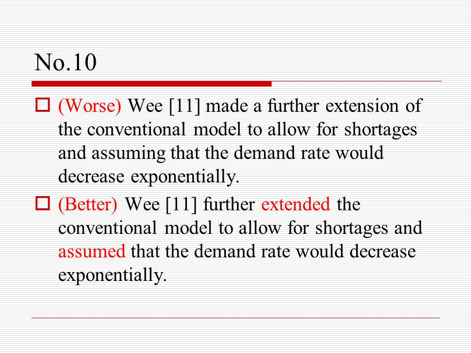 No.10  (Worse) Wee [11] made a further extension of the conventional model to allow for shortages and assuming that the demand rate would decrease ex
