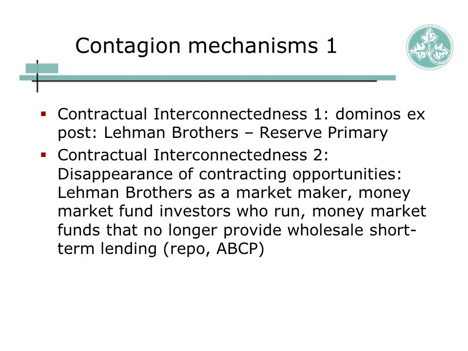 Contagion mechanisms 1  Contractual Interconnectedness 1: dominos ex post: Lehman Brothers – Reserve Primary  Contractual Interconnectedness 2: Disa