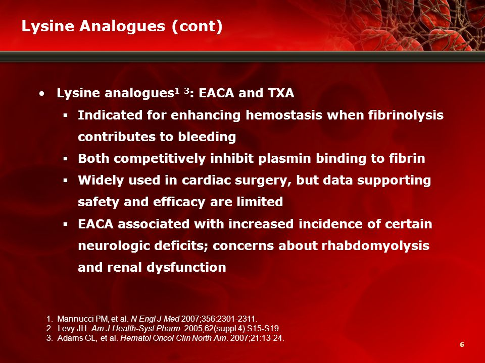 77 Lysine Analogues: EACA and TXA Trial data have limitations 1,2  Often only small numbers of patients studied  Variable design  ?Treatment criteria  ?Factor reduction  Most data are for TXA, not EACA  TXA doses range from 2 g to 25 g  Most EACA/TXA studies in lower-risk patients Meta-analyses need to be cautiously interpreted EACA removed from many European markets 3  ?Safety data 1.Mannucci PM, et al.