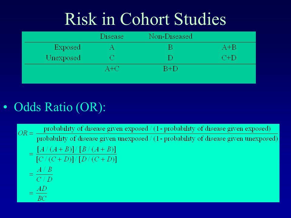 Risk in Cohort Studies Odds Ratio (OR):