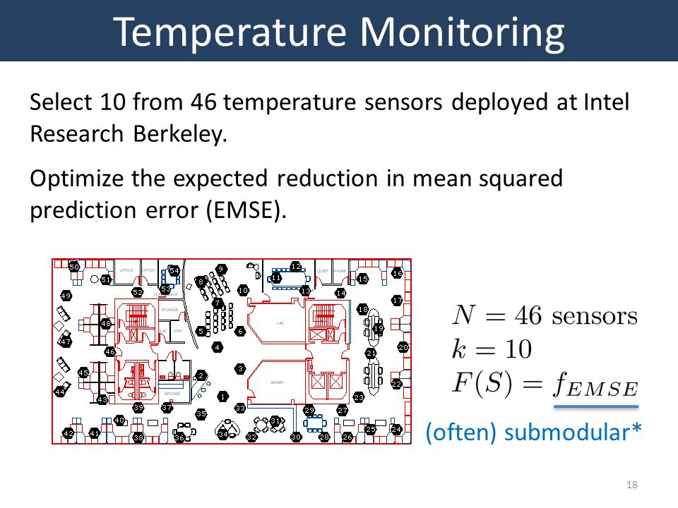 18 Temperature Monitoring Select 10 from 46 temperature sensors deployed at Intel Research Berkeley.