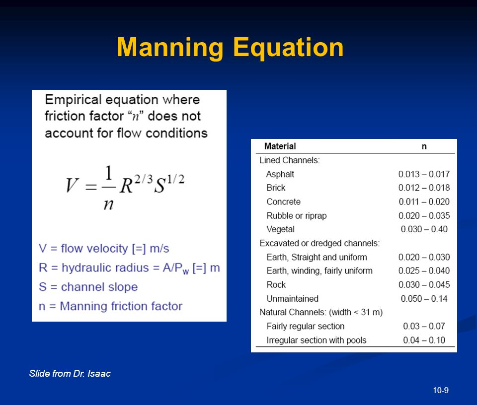 10-9 Slide from Dr. Isaac Manning Equation