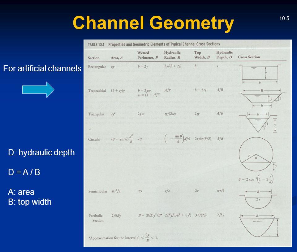 10-5 Channel Geometry D: hydraulic depth D = A / B A: area B: top width For artificial channels
