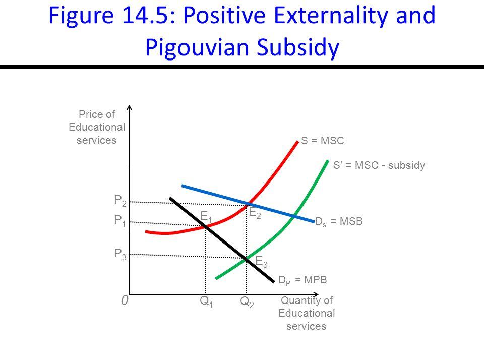 17-18 Figure 14.5: Positive Externality and Pigouvian Subsidy P3P3 0 P1P1 P2P2 E3E3 E2E2 E1E1 S = MSC S' = MSC - subsidy Quantity of Educational services D s = MSB D P = MPB Price of Educational services Q1Q1 Q2Q2