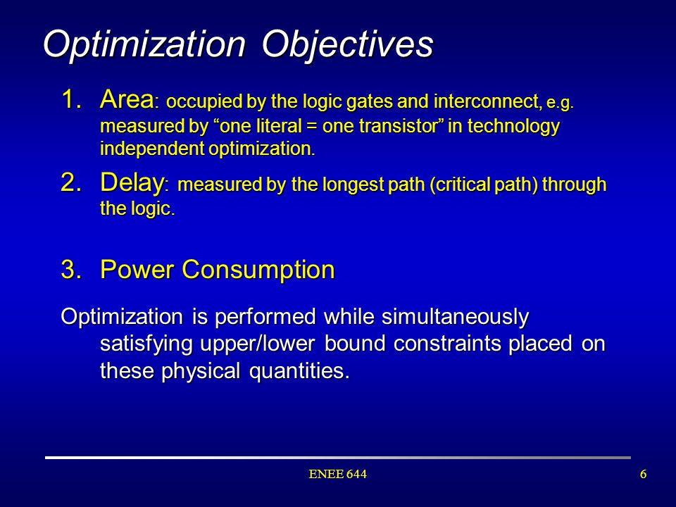 ENEE 6447 Optimization Cost Criteria (Figure source: Prof. Brayton's lecture notes.)