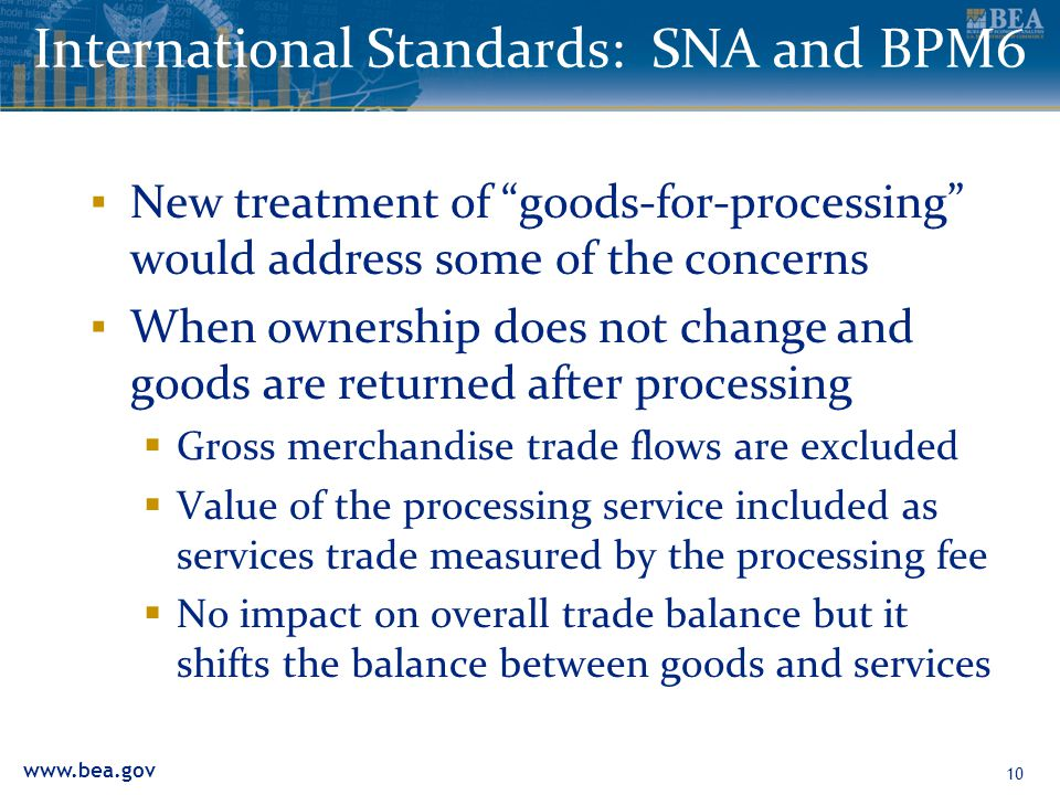 "www.bea.gov 10 International Standards: SNA and BPM6 ▪ New treatment of ""goods-for-processing"" would address some of the concerns ▪ When ownership doe"