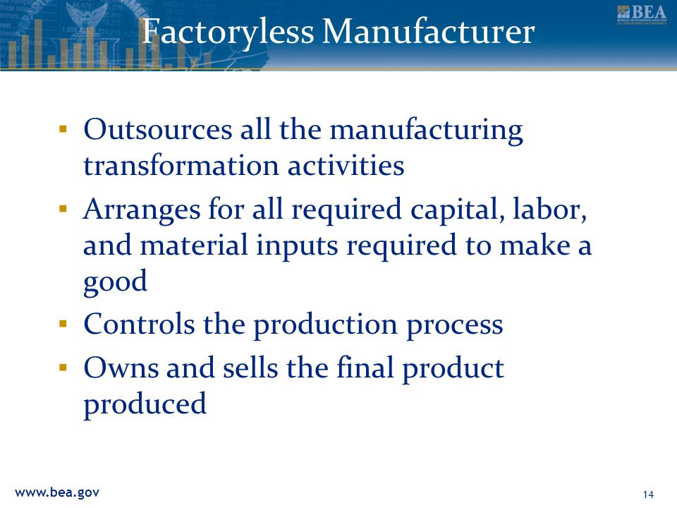 www.bea.gov Factoryless Manufacturer ▪ Outsources all the manufacturing transformation activities ▪ Arranges for all required capital, labor, and mate