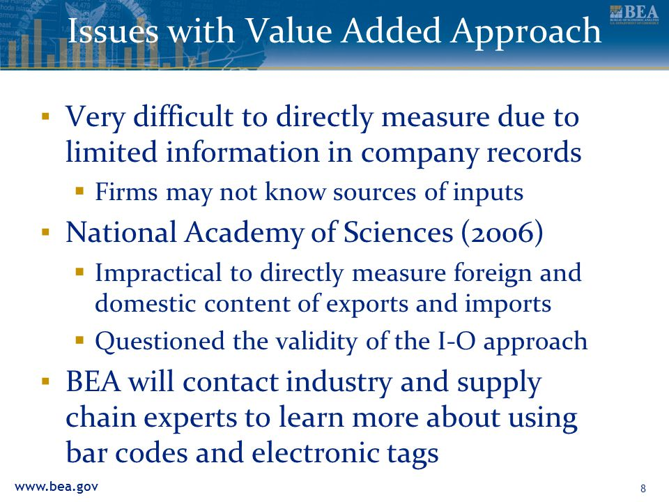 www.bea.gov 8 Issues with Value Added Approach ▪ Very difficult to directly measure due to limited information in company records  Firms may not know