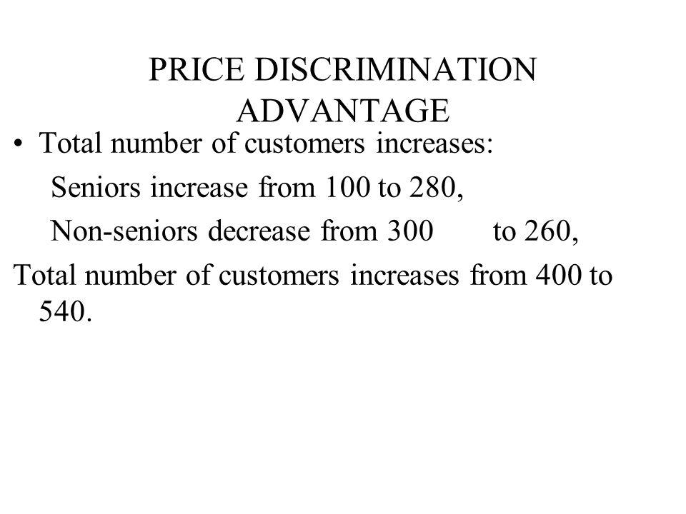 Total number of customers increases: Seniors increase from 100 to 280, Non-seniors decrease from 300 to 260, Total number of customers increases from 400 to 540.