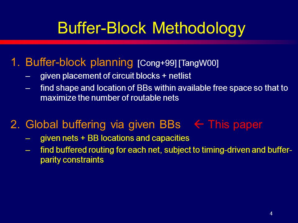 4 1.Buffer-block planning [Cong+99] [TangW00] –given placement of circuit blocks + netlist –find shape and location of BBs within available free space so that to maximize the number of routable nets 2.Global buffering via given BBs  This paper –given nets + BB locations and capacities –find buffered routing for each net, subject to timing-driven and buffer- parity constraints Buffer-Block Methodology