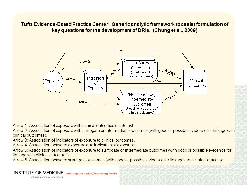 Tufts Evidence-Based Practice Center: Generic analytic framework to assist formulation of key questions for the development of DRIs.