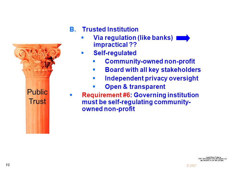 16 © 2007 B.Trusted Institution  Via regulation (like banks) impractical ?.