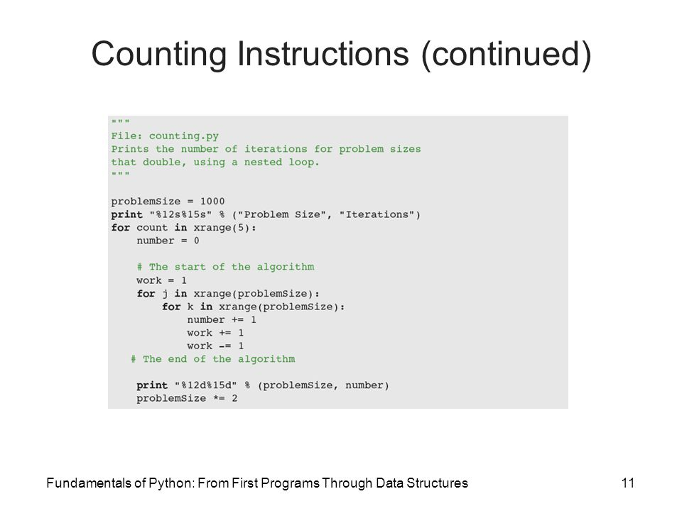 Fundamentals of Python: From First Programs Through Data Structures11 Counting Instructions (continued)