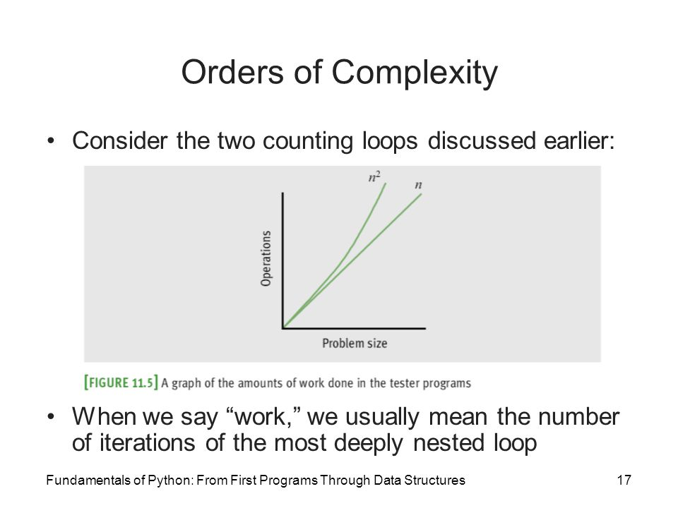 Fundamentals of Python: From First Programs Through Data Structures17 Orders of Complexity Consider the two counting loops discussed earlier: When we say work, we usually mean the number of iterations of the most deeply nested loop
