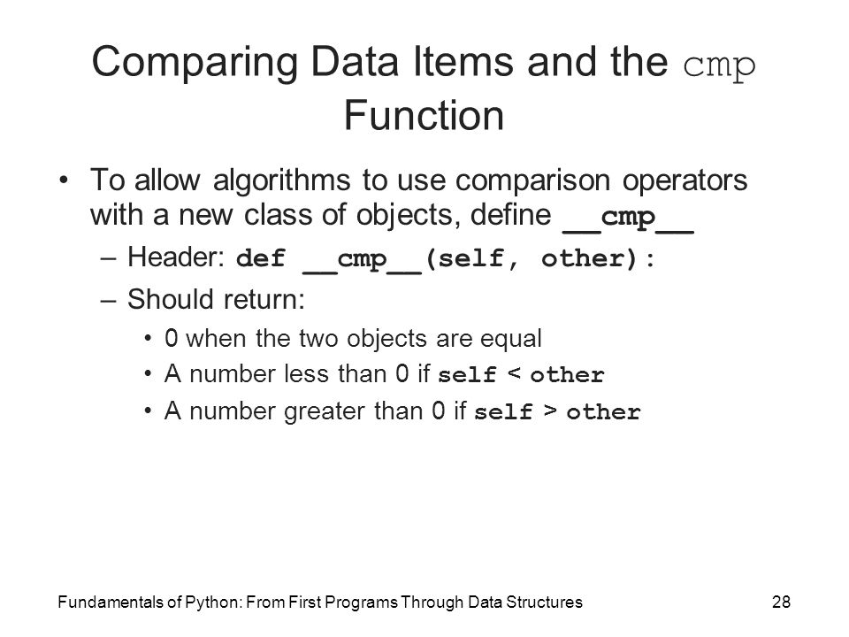Fundamentals of Python: From First Programs Through Data Structures28 Comparing Data Items and the cmp Function To allow algorithms to use comparison operators with a new class of objects, define __cmp__ –Header: def __cmp__(self, other): –Should return: 0 when the two objects are equal A number less than 0 if self < other A number greater than 0 if self > other