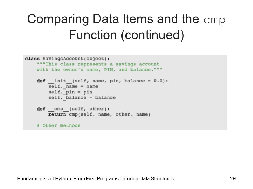 Fundamentals of Python: From First Programs Through Data Structures29 Comparing Data Items and the cmp Function (continued)