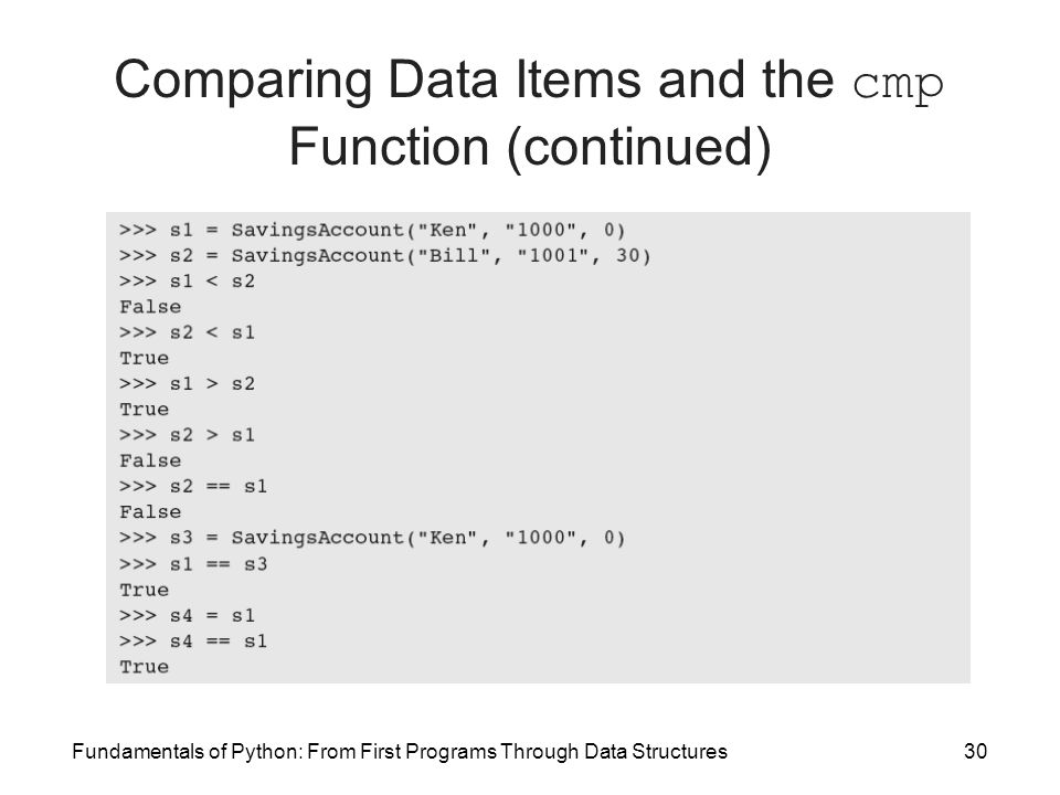 Fundamentals of Python: From First Programs Through Data Structures30 Comparing Data Items and the cmp Function (continued)