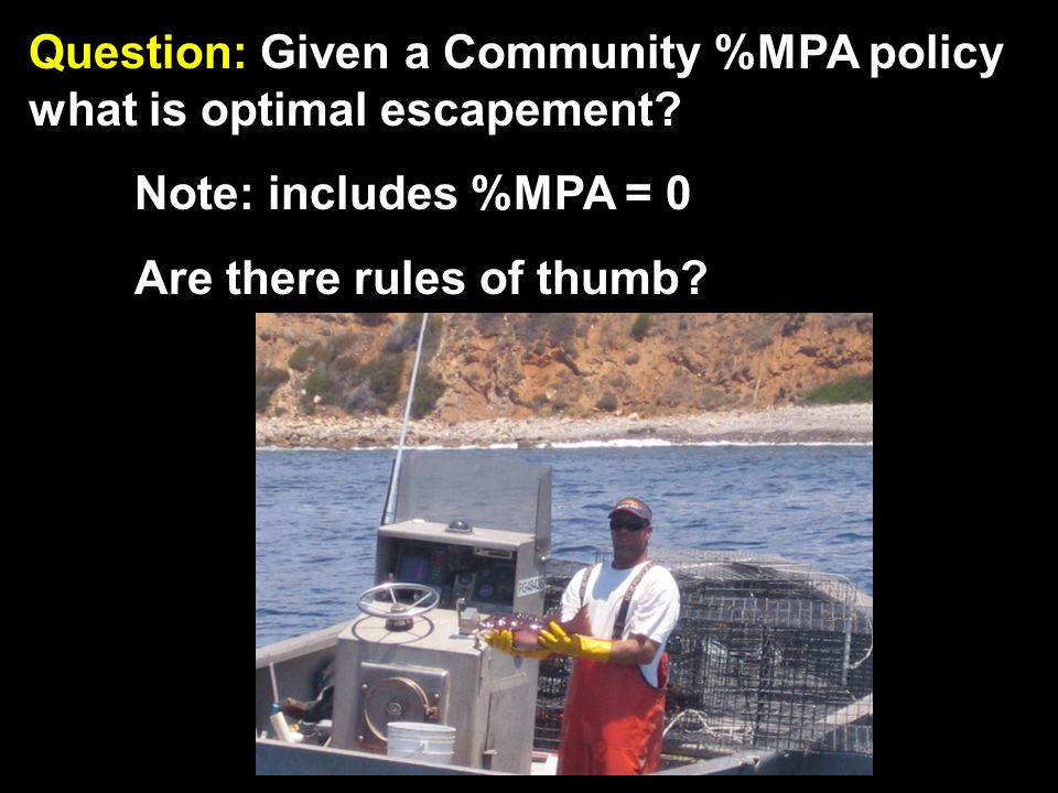Question: Given a Community %MPA policy what is optimal escapement.