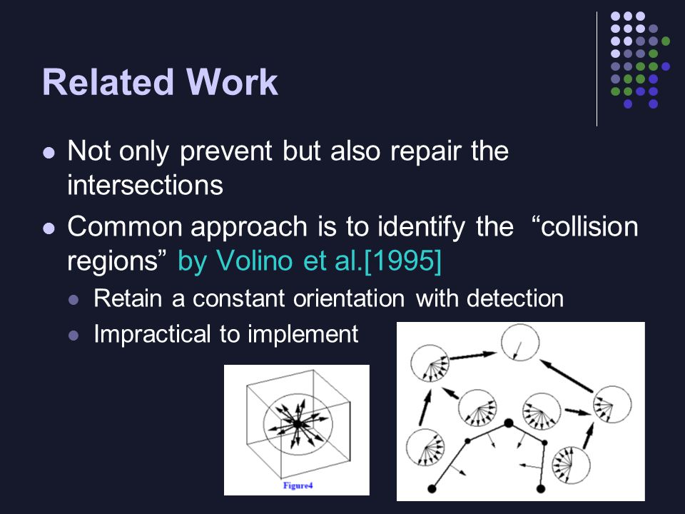 "Not only prevent but also repair the intersections Common approach is to identify the ""collision regions"" by Volino et al.[1995] Retain a constant ori"