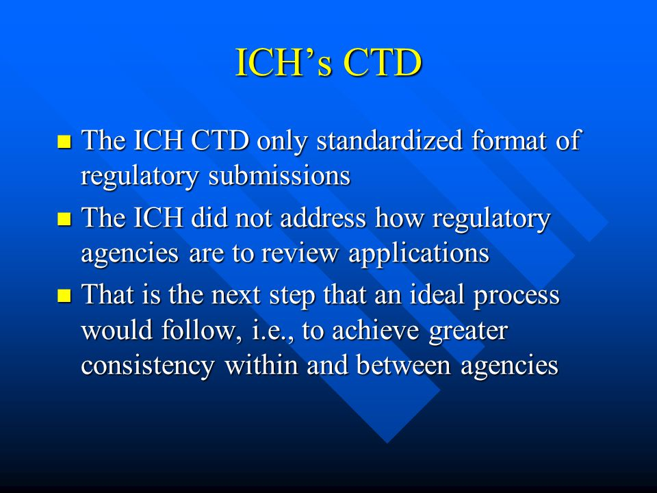 ICH's CTD The ICH CTD only standardized format of regulatory submissions The ICH CTD only standardized format of regulatory submissions The ICH did not address how regulatory agencies are to review applications The ICH did not address how regulatory agencies are to review applications That is the next step that an ideal process would follow, i.e., to achieve greater consistency within and between agencies That is the next step that an ideal process would follow, i.e., to achieve greater consistency within and between agencies