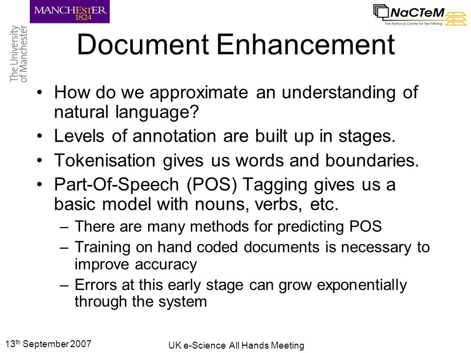 13 th September 2007 UK e-Science All Hands Meeting Document Enhancement How do we fit these words together.