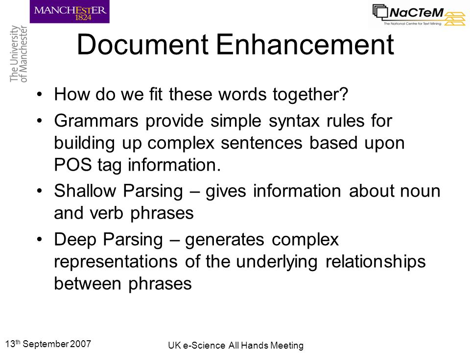 13 th September 2007 UK e-Science All Hands Meeting Document Similarity