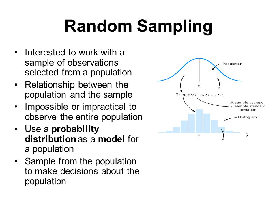 Random Sampling Interested to work with a sample of observations selected from a population Relationship between the population and the sample Impossi