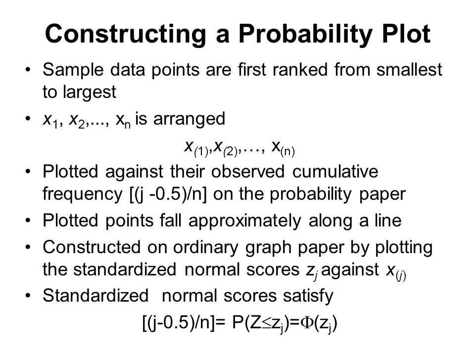 Constructing a Probability Plot Sample data points are first ranked from smallest to largest x 1, x 2,..., x n is arranged x (1),x (2),…, x (n) Plotte