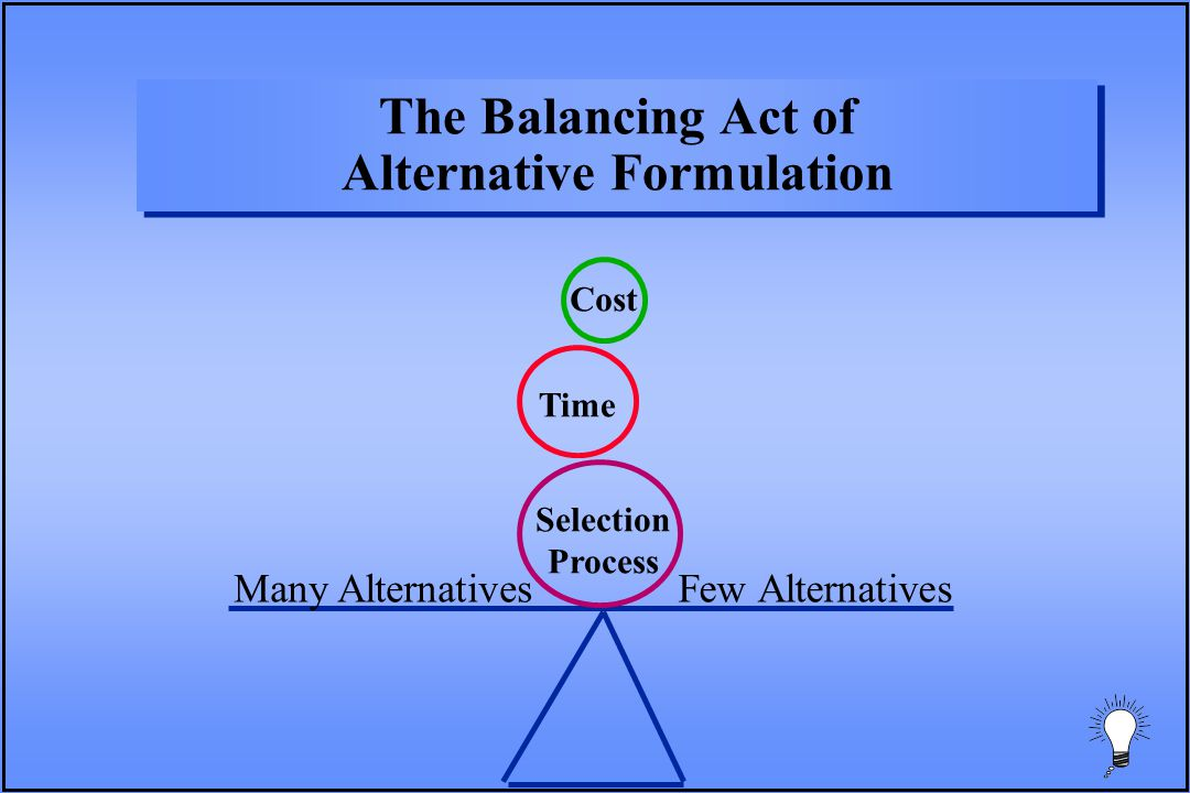 The Balancing Act of Alternative Formulation Many AlternativesFew Alternatives Selection Process Time Cost