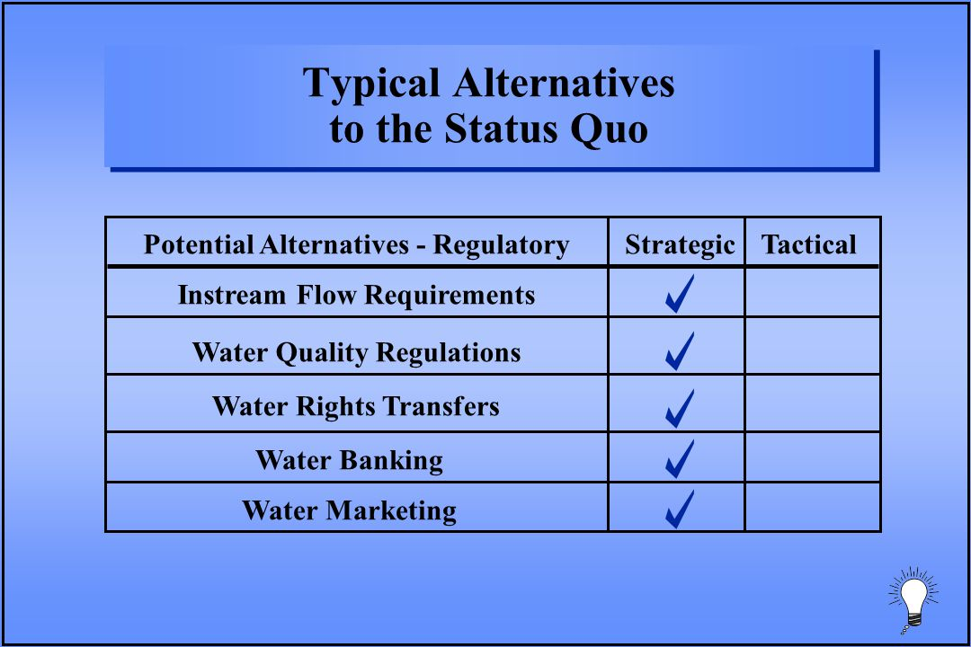 Potential Alternatives - RegulatoryStrategicTactical Instream Flow Requirements Water Quality Regulations Water Rights Transfers Water Banking Water Marketing Typical Alternatives to the Status Quo