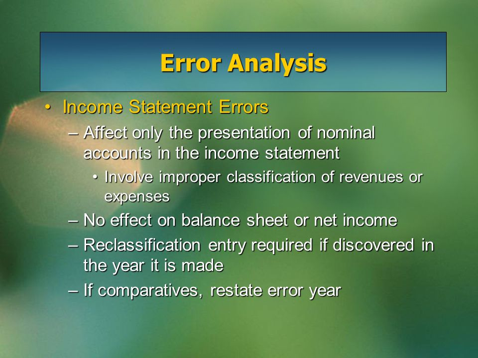Error Analysis Balance Sheet and Income Statement ErrorsBalance Sheet and Income Statement Errors –Involve both balance sheet and income statement e.g.