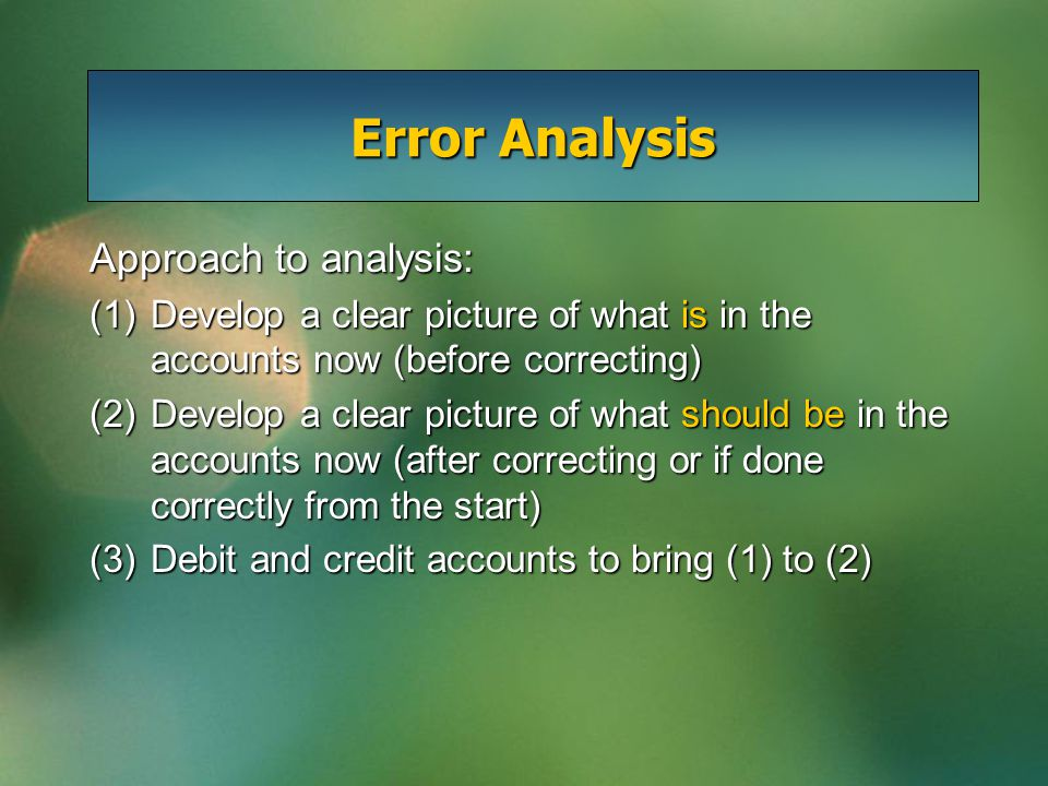 Error Analysis Approach to analysis: (1)Develop a clear picture of what is in the accounts now (before correcting) (2)Develop a clear picture of what
