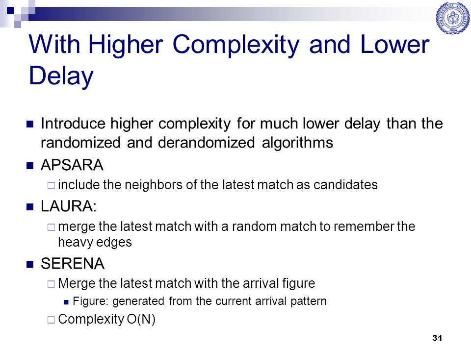 31 With Higher Complexity and Lower Delay Introduce higher complexity for much lower delay than the randomized and derandomized algorithms APSARA  in