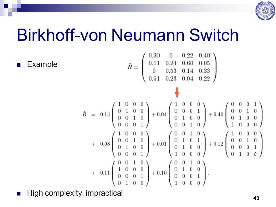 43 Birkhoff-von Neumann Switch Example High complexity, impractical 0