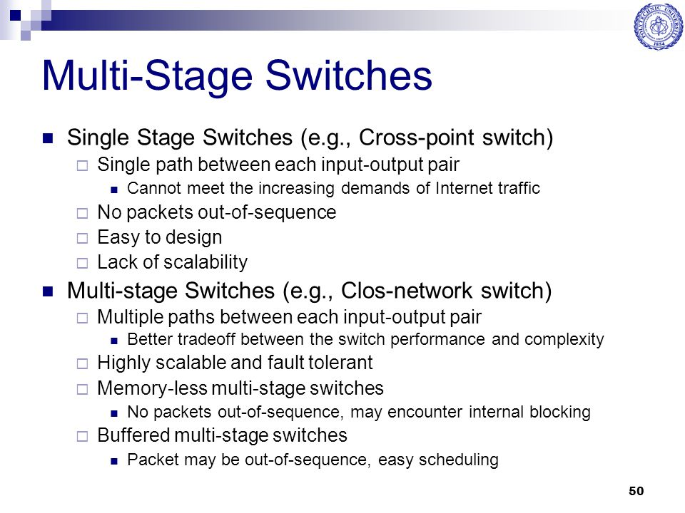 50 Multi-Stage Switches Single Stage Switches (e.g., Cross-point switch)  Single path between each input-output pair Cannot meet the increasing deman