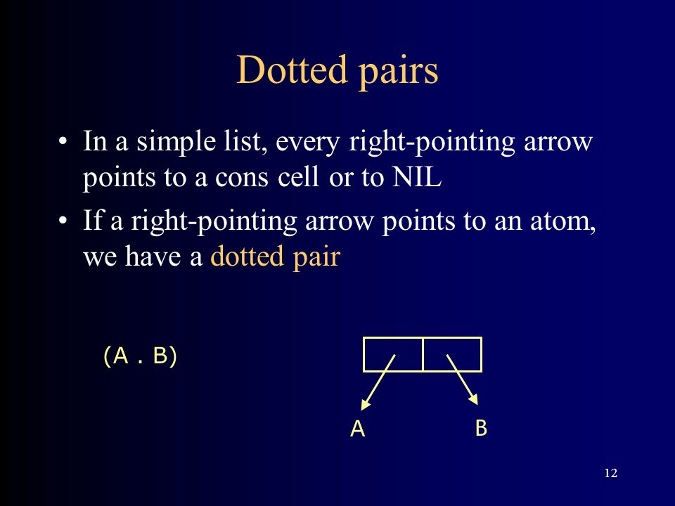 12 Dotted pairs In a simple list, every right-pointing arrow points to a cons cell or to NIL If a right-pointing arrow points to an atom, we have a dotted pair (A.