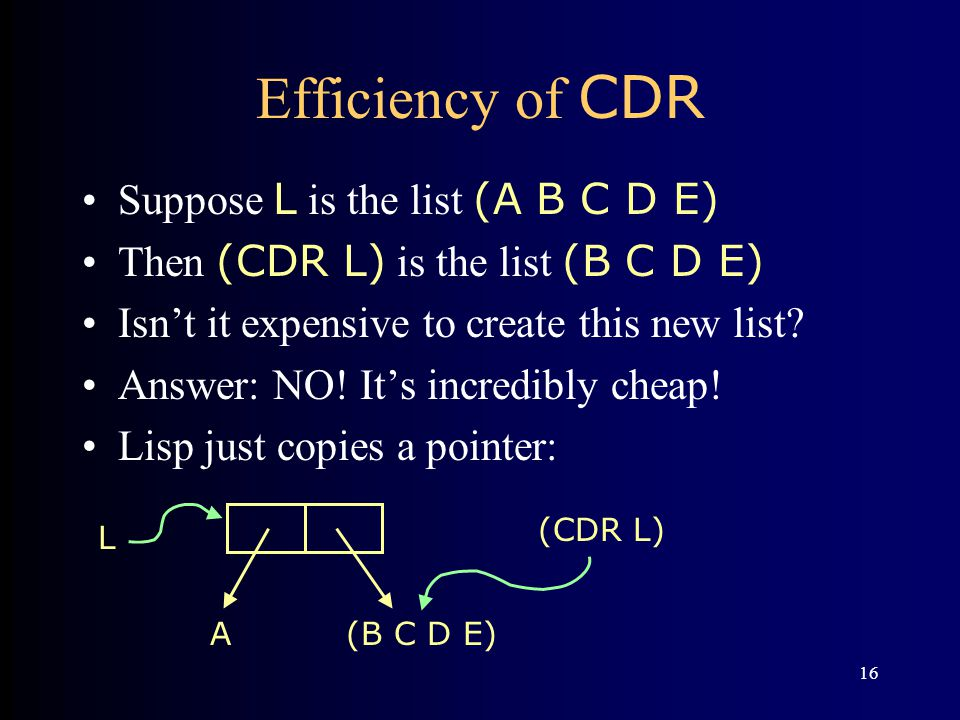 16 Efficiency of CDR Suppose L is the list (A B C D E) Then (CDR L) is the list (B C D E) Isn't it expensive to create this new list.