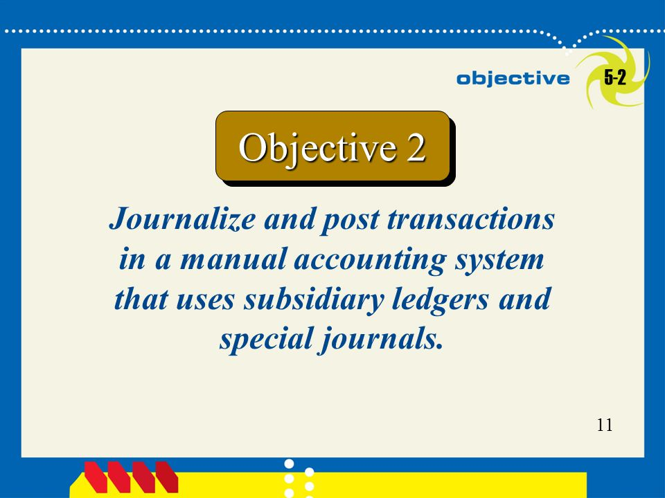 11 Journalize and post transactions in a manual accounting system that uses subsidiary ledgers and special journals.