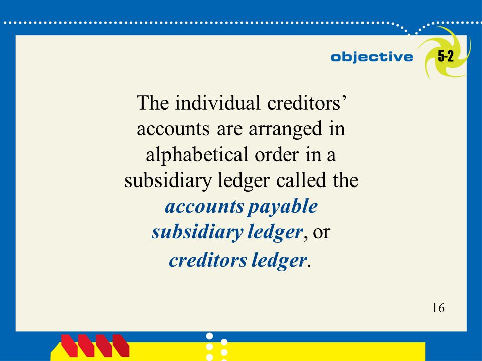 16 The individual creditors' accounts are arranged in alphabetical order in a subsidiary ledger called the accounts payable subsidiary ledger, or creditors ledger.