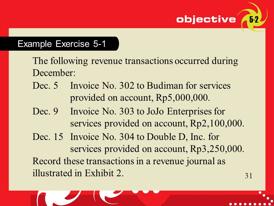 31 Example Exercise 5-1 The following revenue transactions occurred during December: 31 Record these transactions in a revenue journal as illustrated in Exhibit 2.