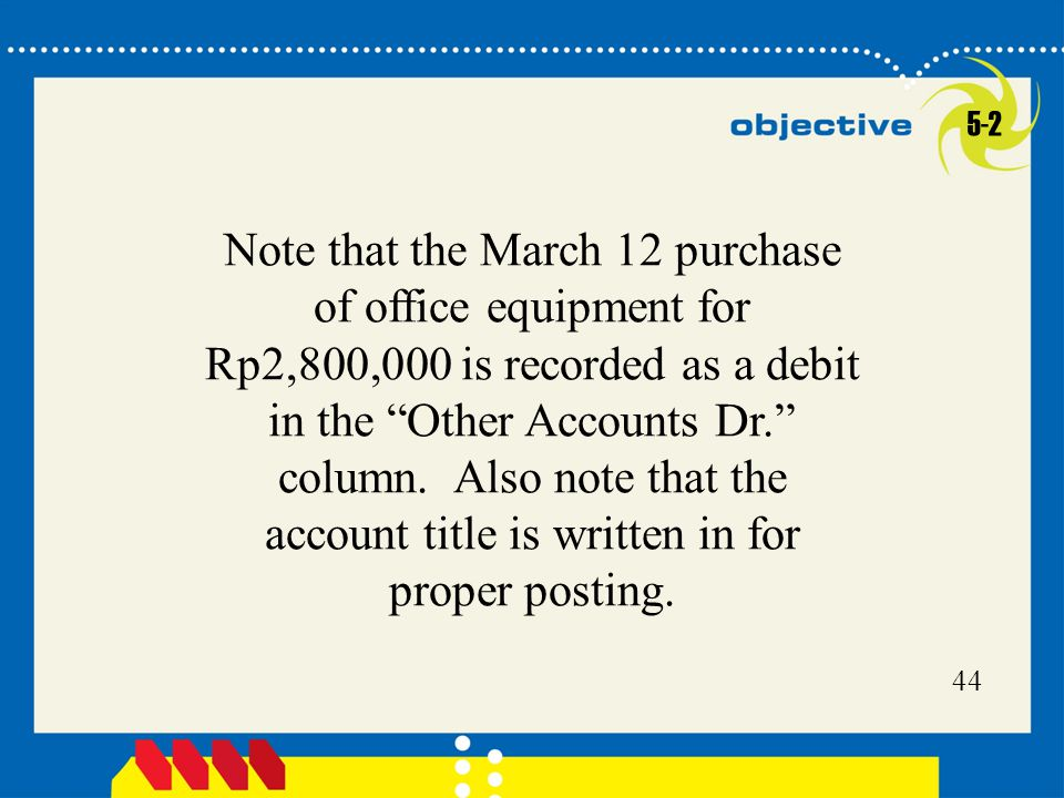 44 Note that the March 12 purchase of office equipment for Rp2,800,000 is recorded as a debit in the Other Accounts Dr. column.