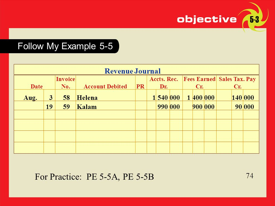 74 For Practice: PE 5-5A, PE 5-5B 74 Follow My Example 5-5 5-3 Revenue Journal Aug.