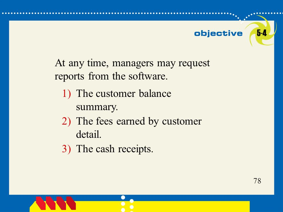 78 At any time, managers may request reports from the software.