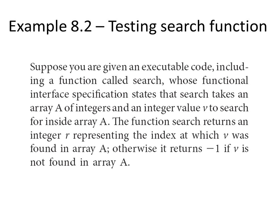 Example 8.2 – Testing search function